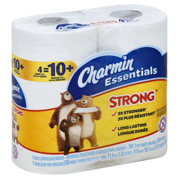 Charmin Essentials Strong Giant Rolls Unscented Bathroom Tissue, 4 rolls