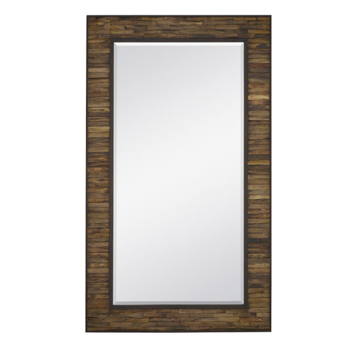 Majestic Mirror Oversized Rectangular Natural Wood With Mahogany Border Full length Wall Mirror