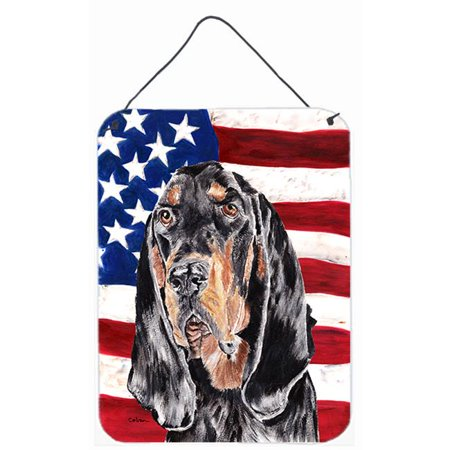 8 x 12 In. Coonhound Black and Tan USA American Flag Aluminium Metal Wall or Door Hanging