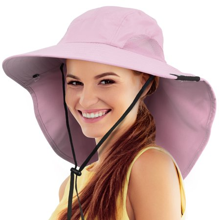 Safari Sun Hats for Women Fishing Hiking Cap with Neck Flap Wide Brim Hat