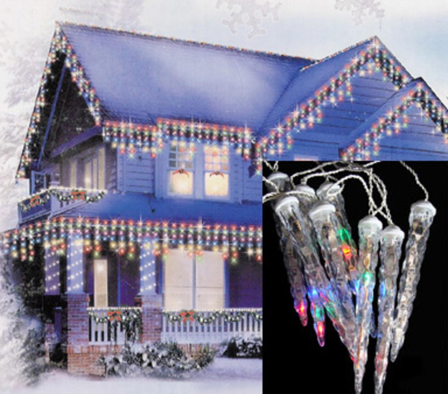 Set of 6 LED Multi-Color Dripping Icicle Shape Christmas Lights ...