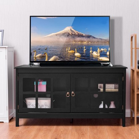 Gymax 50'' TV Stand Modern Wood Storage Console Entertainment Center w/ 2 Doors Black ()