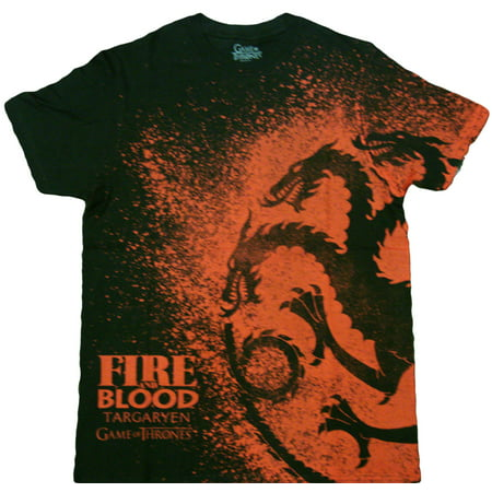 HBO'S Game of Thrones Fire and Blood Splatter Adult T-Shirt