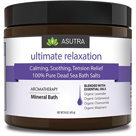 Ultimate Relaxation  100  Pure Dead Sea Bath Salts   Calming  Soothing  Tension Relief   Healing Aromatherapy   Organic Essential Oils Of Lavender  Cedarwood  Chamomile   Marjoram   16Oz