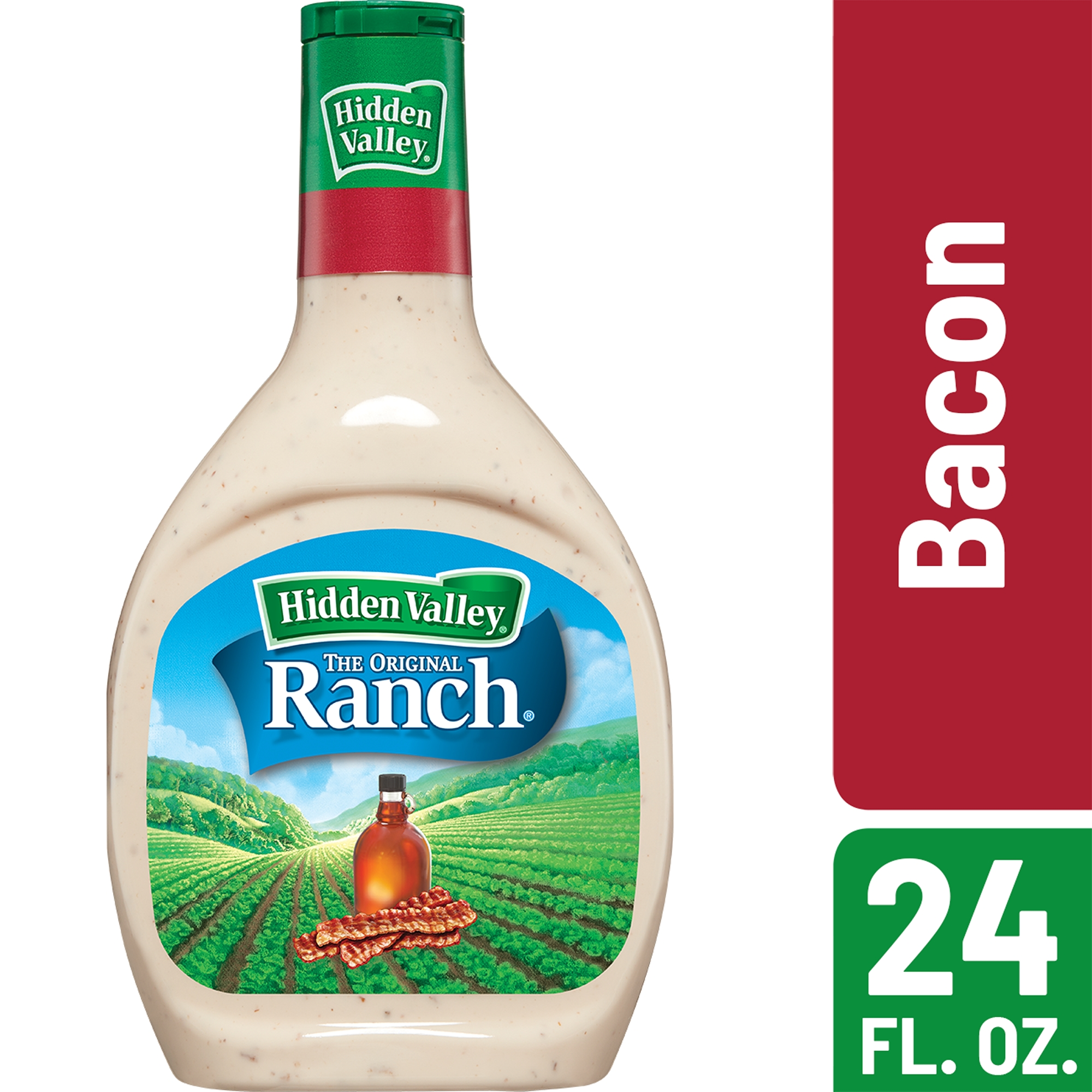 (2 Pack) Hidden Valley Bacon Ranch Salad Dressing & Topping, Gluten Free - 24 oz Bottle