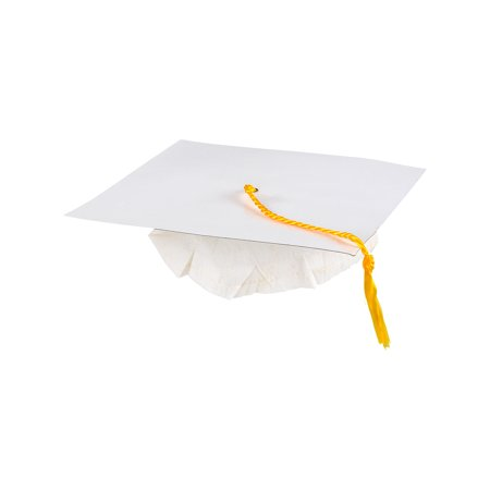 Adults White Graduation Graduate Grad Cap Hat With Tassel Costume Accessory (Graduate Hat)