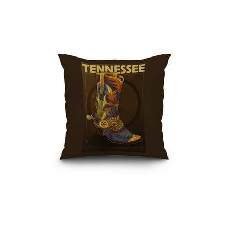 Tennessee Cowboy Boot Lantern Press Poster 18x18 Spun Polyester Pillow