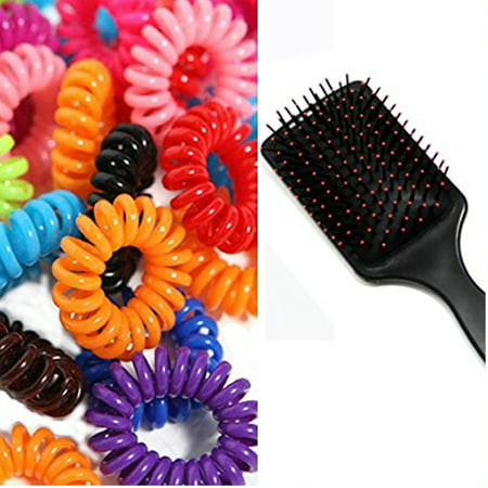 Hair Massage Brush WithPonytail Rubber band Hair Ties - Walmart.com c8331af85f7