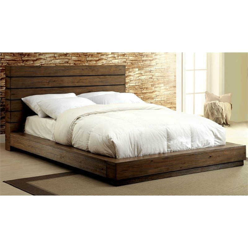 Furniture of America Benjy King Panel Bed in Rustic Natural