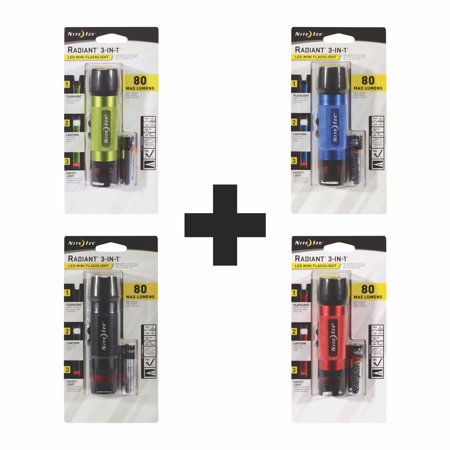 Nite Ize Radiant 3-in-1 LED Mini Flashlight Variety Pack- Green Blue Black Red