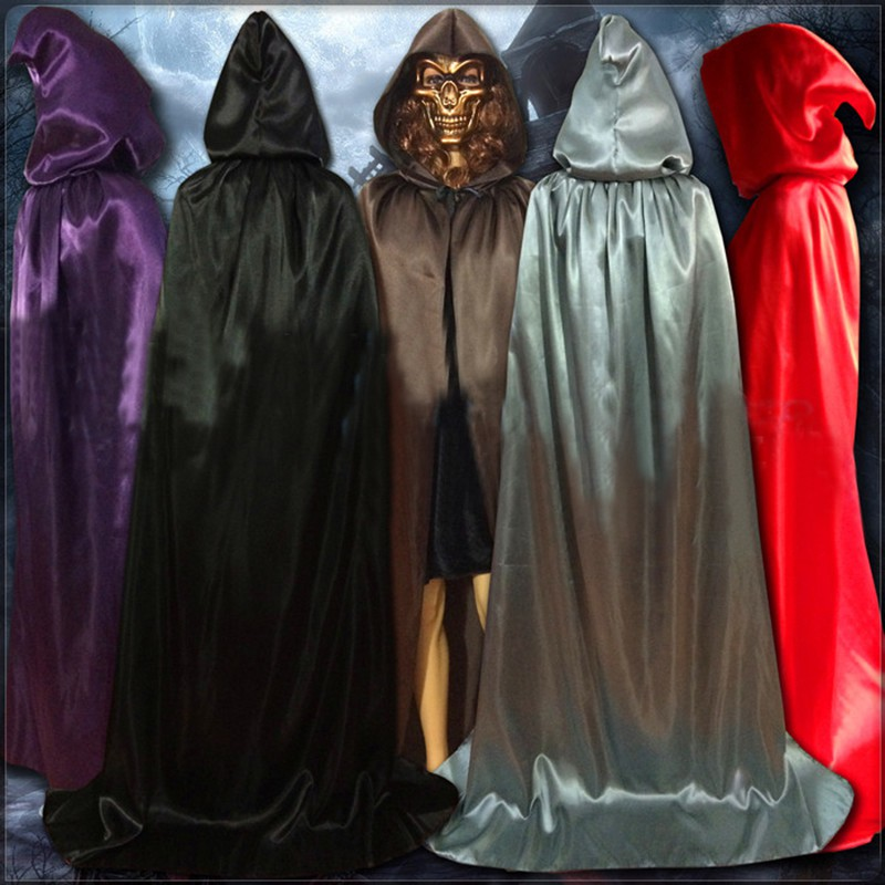 Gothic Hooded Silk Cloak Medieval Witchcraft Cape Robe Halloween Costume