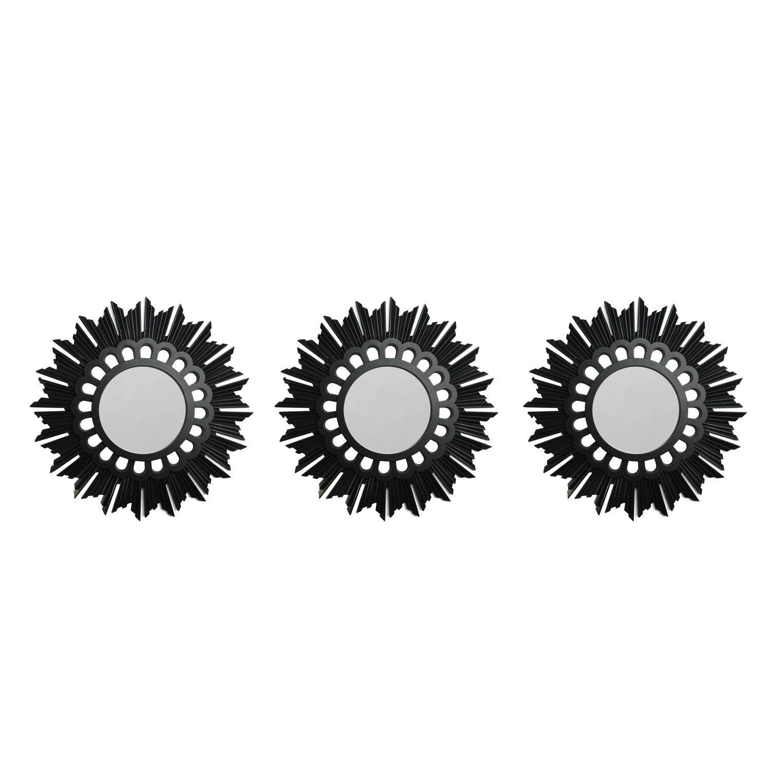 Set of 3 Flower Starburst Inspired Matte Black Decorative Round Mirrors 9.5""