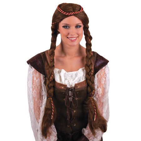 Funny Fashion Medieval Rennaisance Princess Braided Wig, Brown, One-Size (Funny Wig)