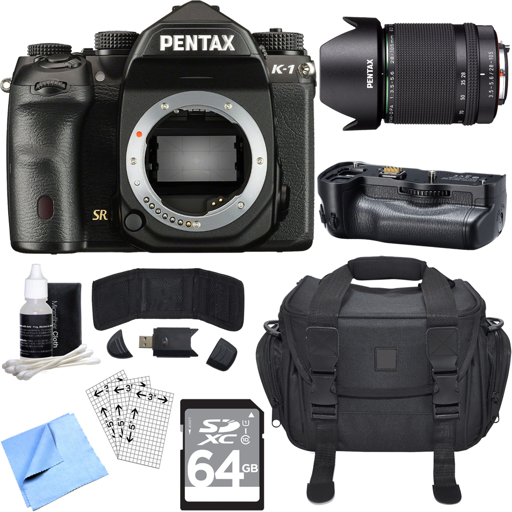 Pentax K-1 CMOS Full Frame DSLR Camera w/ 28-105mm Lens Bundle includes Camera, Lens, Battery Grip, 64GB SDXC Memory Card, Reader + Wallet, Bag, Screen Protectors, Cleaning Kit and Beach Camera Cloth