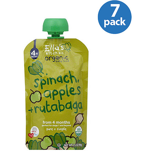 Ella's Kitchen Spinach Apple & Rutabagas Stage 1 Baby Food, 3.5 oz. (Pack of, 7)