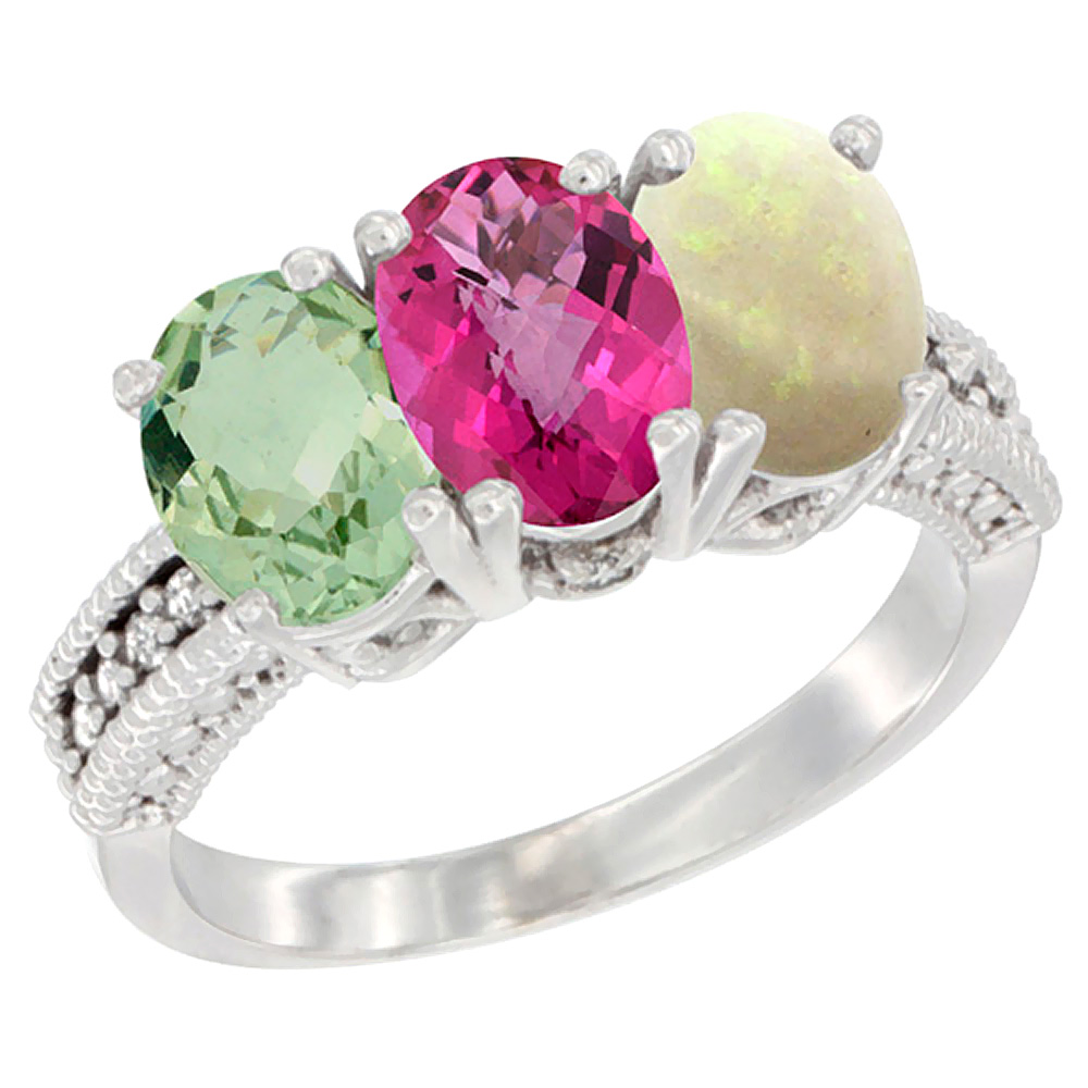 14K White Gold Natural Green Amethyst, Pink Topaz & Opal Ring 3-Stone 7x5 mm Oval Diamond Accent, sizes 5 10 by WorldJewels