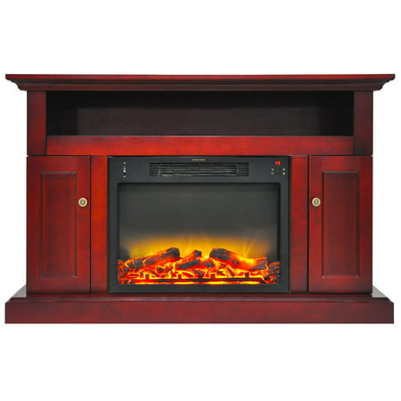 Cambridge Sorrento Electric Fireplace Heater With 47  Entertainment Stand Plus Enhanced Log And Grate Display