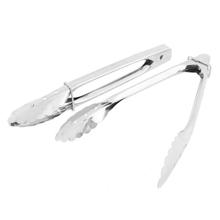 Unique Bargains Kitchen BBQ Buffet Party Stainless Steel Scallop Food Tong Clip 2pcs