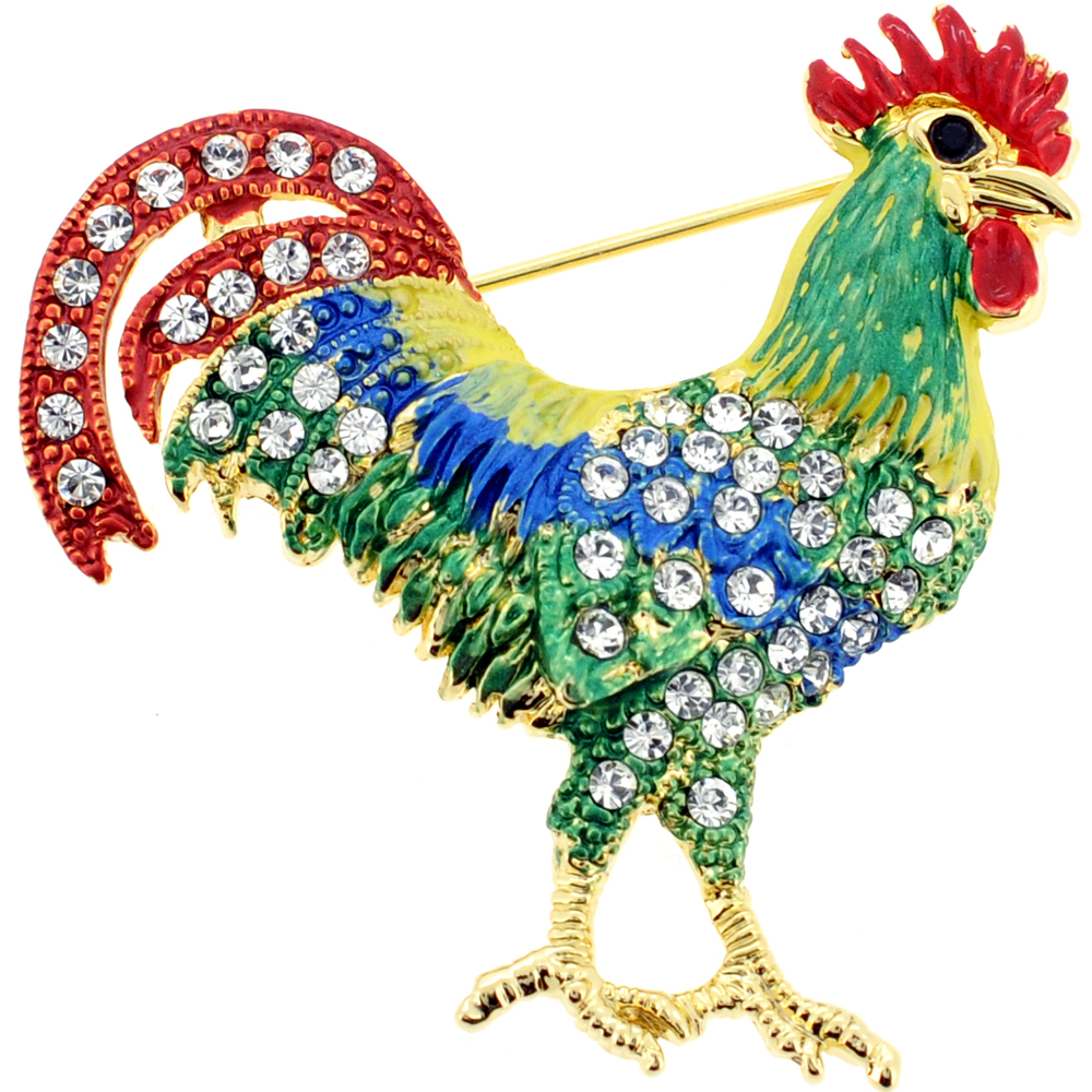 Green And Red Rooster Pin Swarovski Crystal Animal Pin Brooch by