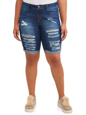 7988007773d Product Image Juniors  Plus Size Distressed Roll Cuff Bermuda Shorts