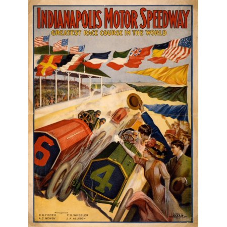 Vintage Auto Racing Indianapolis Motor Speedway 1909 Canvas Art - (18 x 24)