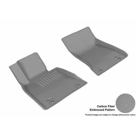 3D MAXpider 2017-2017 Genesis G80 Front Row All Weather Floor Mats in Gray with Carbon Fiber Look