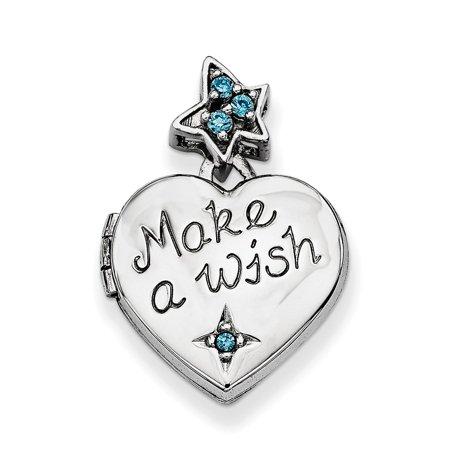Roy Rose Jewelry Sterling Silver Heart with CZ Make a Wish Locket (Charm Inside Locket) - Make Rose Petal Jewelry