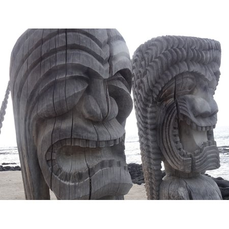 LAMINATED POSTER Figures Arts Crafts Faces Hawaii Masks Wood Poster Print 24 x 36
