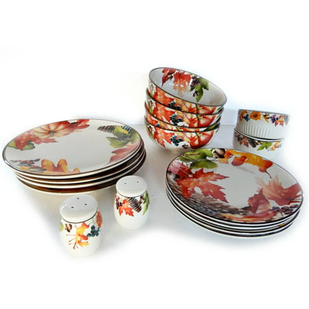 Better Homes And Gardens Botanical 16 Piece Set Dinnerware Set