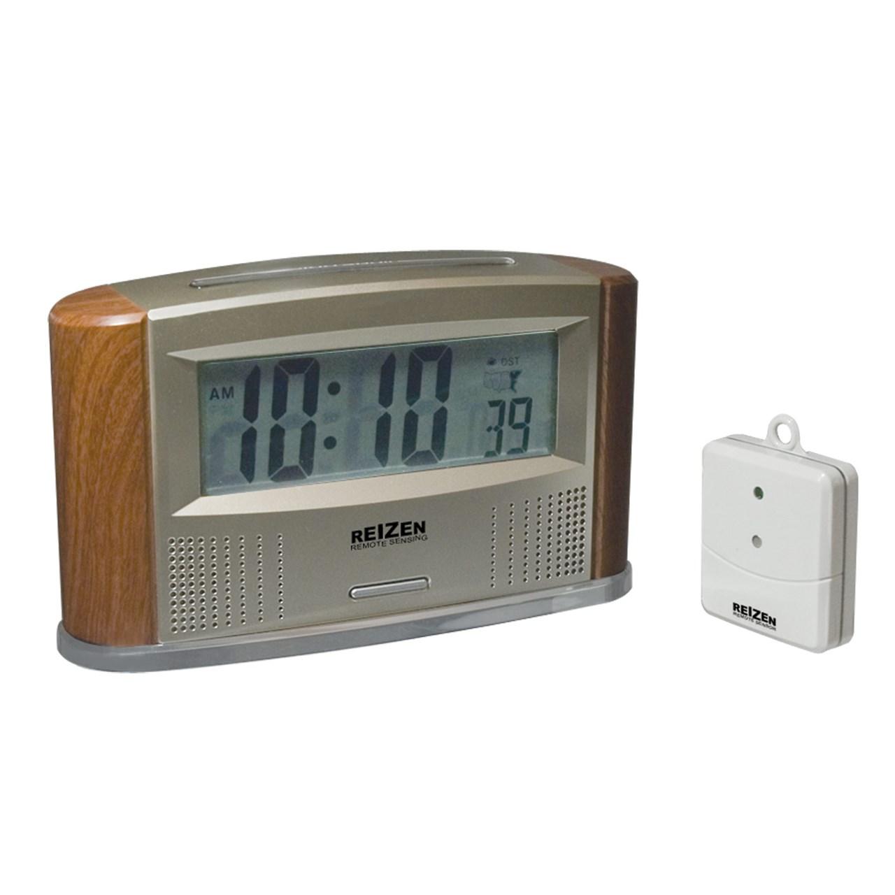 REIZEN Atomic Talking Clock with Indoor-Outdoor Thermometer