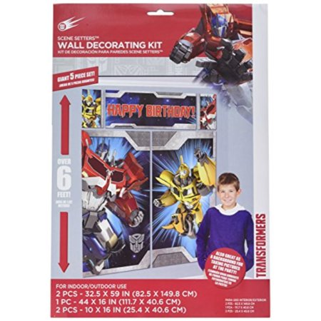 transformers scene setter wall decorations kit - kids birthday and party supplies - Party Wall Decorations