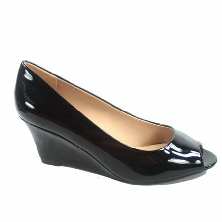 Doris-12 Women's Open Peep Toe Patent Wedge Heel Shoes