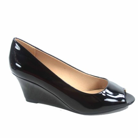 - Doris-12 Women's Open Peep Toe Patent Wedge Heel Shoes