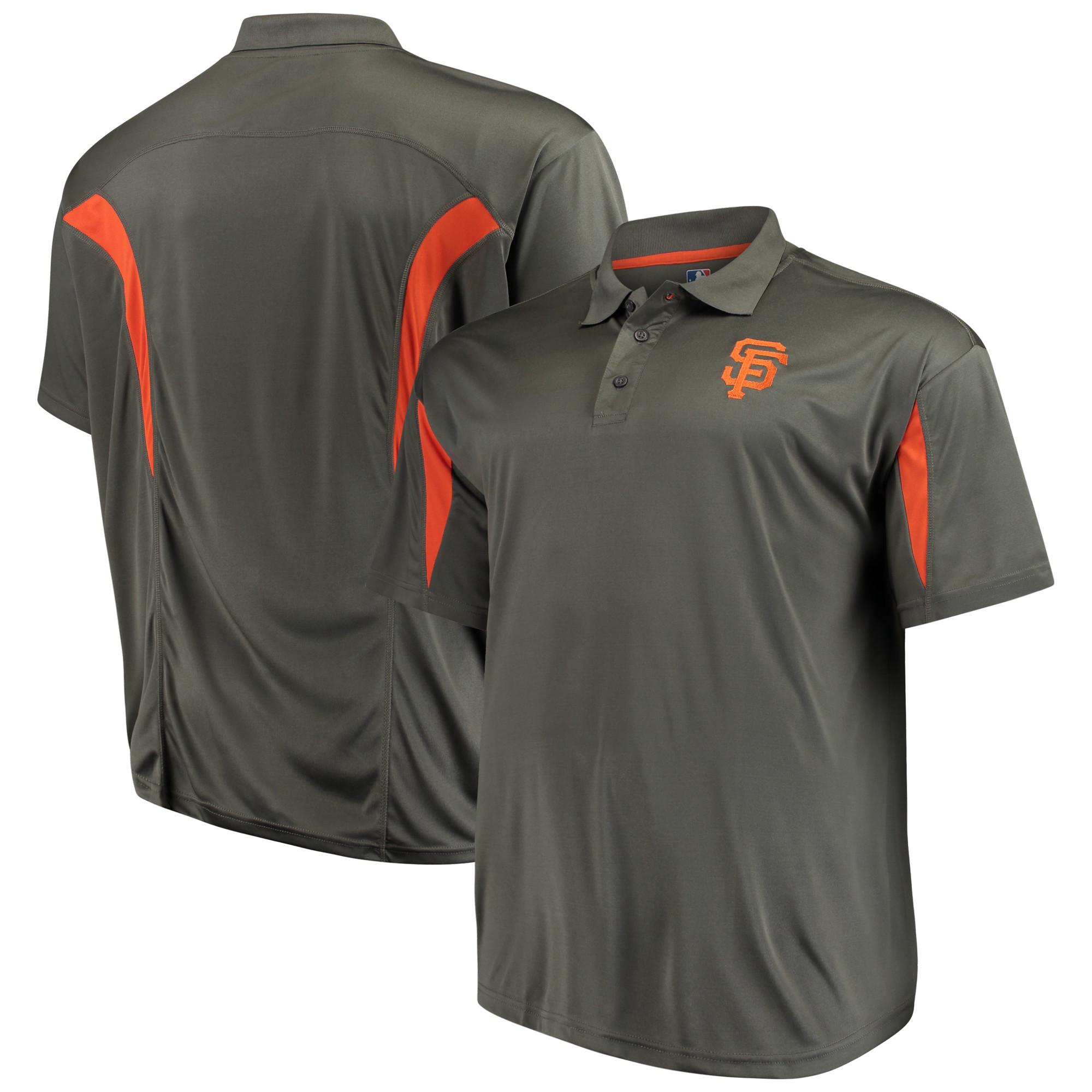 San Francisco Giants Majestic Contract Polo - Charcoal/Orange