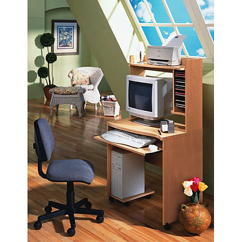 Mobile Computer Desk with Pullout Keyboard Tray, Natural
