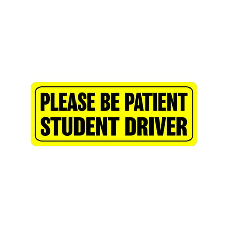 Zone Tech Effective Bumper Decal Please Be Patient Student Driver Car Magnet Black Block Lettering on Neon Yellow