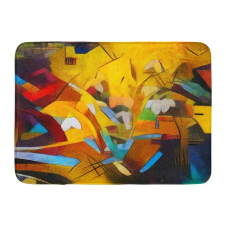 KDAGR Floral Bouquet Abstraction in The Modern of Kandinsky Executed Oil on Canvas Pastel Painting Doormat Floor Rug Bath Mat 23.6x15.7 inch