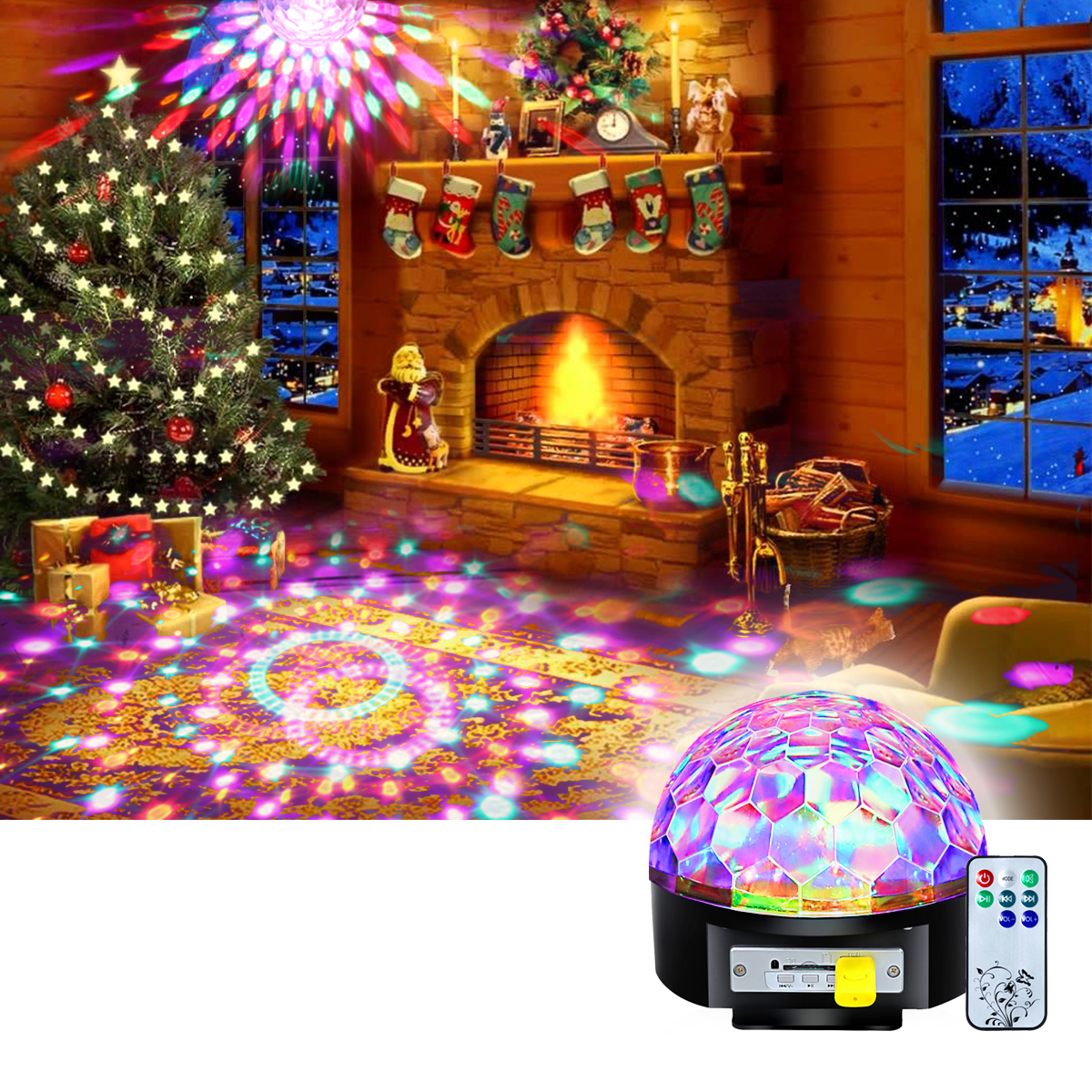 CoastaCloud Christmas Party Stage Lights Par Lights DJ Lights Sound activated Color Changing 9W Rotating RGB LED Lights Crystal Magic Rotating Ball for Halloween Christmas Party Wedding Show Club Pub