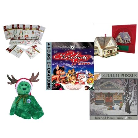 Hallmark Gift Trim (Christmas Fun Gift Bundle [5 Piece] - Brite Star Classic Trims Dickens Village Ornament Set of 12 - The Sarah Plain and Tall Collection Sarah's Prairie Home Hallmark 1994 - Vintage Movie Classics  a)