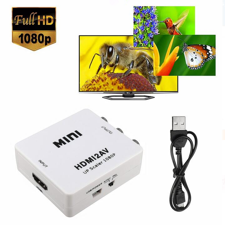 1080P HDMI to 3 RCA Audio Video AV CVBS Composite Adapter Converter For HDTV DVD