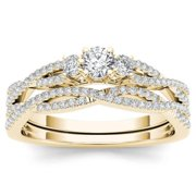De Couer   IGI Certified 14k Yellow Gold 1/2ct TDW Diamond Three-Stone Anniversary Ring with One Band