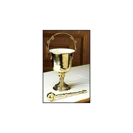 Holy Water Hammered Finish Brass Pot With Sprinkler Set Gold