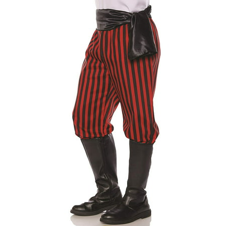 Red and Black Pirate Pants Men's Adult Halloween Costume (Halloween Pirate Decorations)