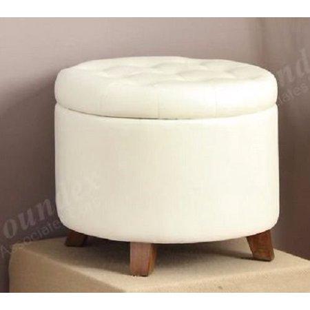 Pleasant Accent Cute Organizer Round Storage Ottoman Footstool Pouf Spiritservingveterans Wood Chair Design Ideas Spiritservingveteransorg
