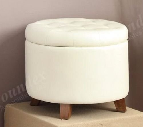 Simple Relax 1PerfectChoice Accent Cute Organizer Round Storage Ottoman  Footstool Pouf Faux Leather Color White