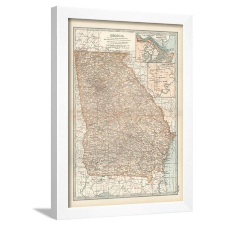 Map Of Georgia United States.Map Of Georgia United States Inset Maps Of Savannah And Vicinity Chickamauga National Park Framed Print Wall Art By Encyclopaedia Britannica