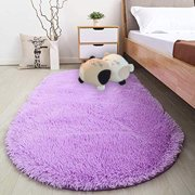 NK HOME 31.4 x 64.9 inches/ 80 x 165cm Fluffy Area Rugs for Bedroom Oval Shaggy Floor Carpet Cute Rug for Girls Kids Room Living Room Home Decoration, Purple