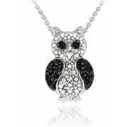 Black Diamond Accent Silver-Tone Owl Necklace