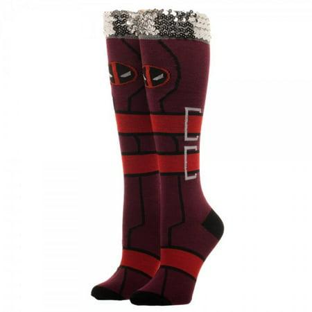 Knee High Socks - Marvel - Deadpool Sequin Cuff New Licensed no5k9ymvu - Deadpool Colors