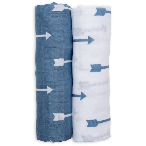 lulujo Blue Arrows Cotton Swaddles (2 Pack)